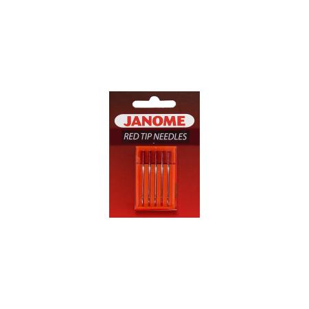 Igły półpłaskie JANOME RED TIP do szycia i haftowania grubszych materiałów - 1