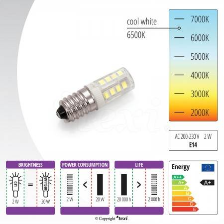 TEXI LED E14 Lampka LED do maszyn domowych - 230 V, 2 W - 2
